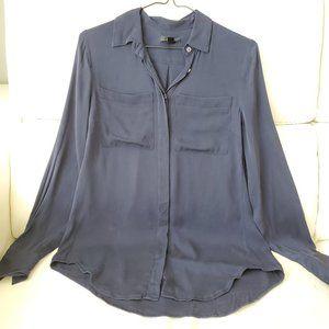 🖤 Silk J.Crew navy blue button-down shirt